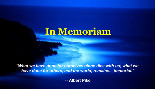 in memoriam Sometimes followed by a reference to the one being remembered: then, either a  preposition is used (typically of) or in memoriam is followed directly by the.